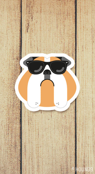 bulldog dog wearing sunglasses strong weatherproof vinyl decal sticker