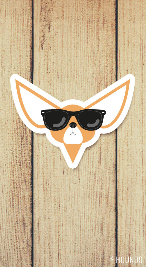 chihuahua dog wearing sunglasses strong weatherproof vinyl decal sticker