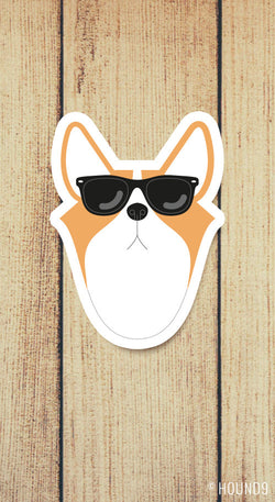 corgi dog wearing sunglasses strong weatherproof vinyl decal sticker
