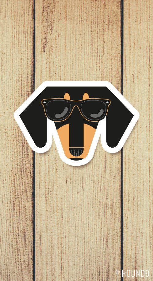 dachshund dog wearing sunglasses strong weatherproof vinyl decal sticker
