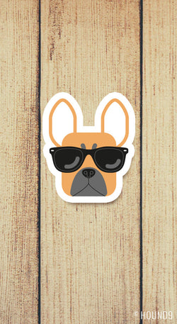 french bulldog dog wearing sunglasses strong weatherproof vinyl decal sticker