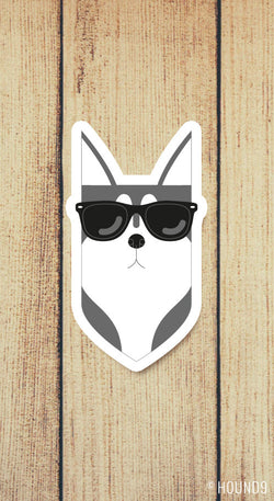 siberian husky dog wearing sunglasses strong weatherproof vinyl decal sticker