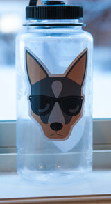 blue heeler cattle dog wearing sunglasses strong weatherproof vinyl decal sticker on a water bottle