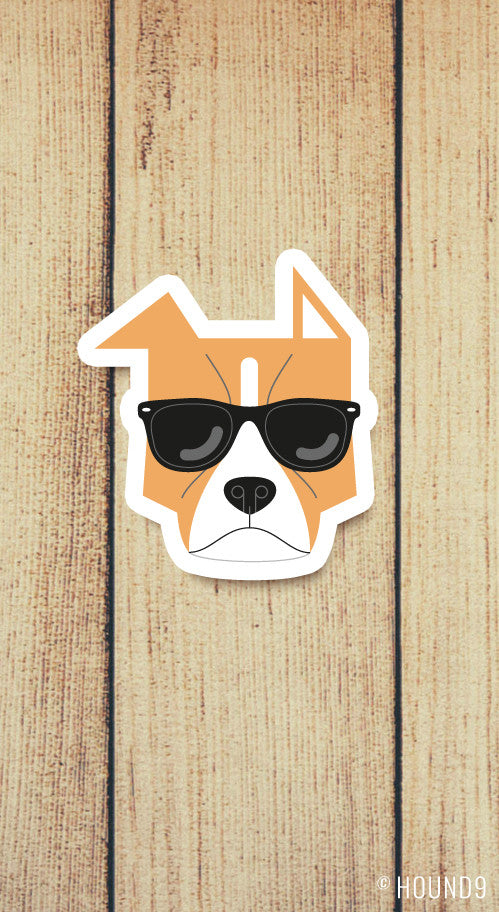 pit bull dog wearing sunglasses strong weatherproof vinyl decal sticker