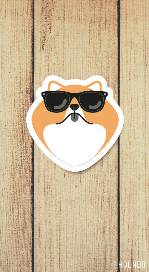 pomeranian wearing sunglasses strong weatherproof vinyl decal sticker