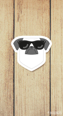 pug dog wearing sunglasses strong weatherproof vinyl decal sticker