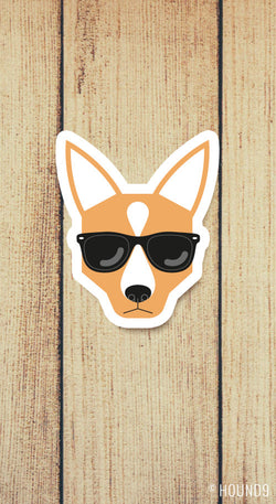 red heeler cattle dog wearing sunglasses strong weatherproof vinyl decal sticker