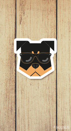 rottweiler dog wearing sunglasses strong weatherproof vinyl decal sticker