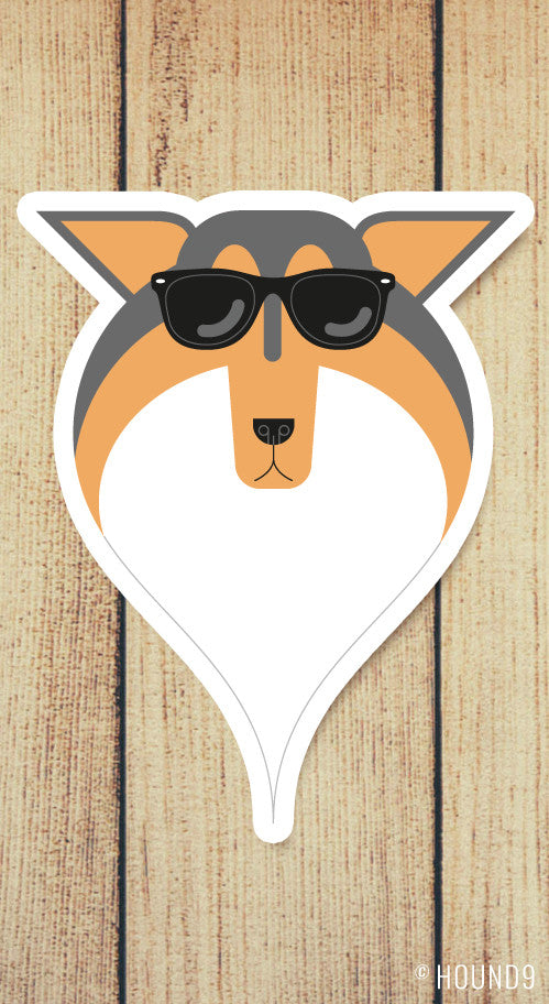 sheltie dog wearing sunglasses strong weatherproof vinyl decal sticker