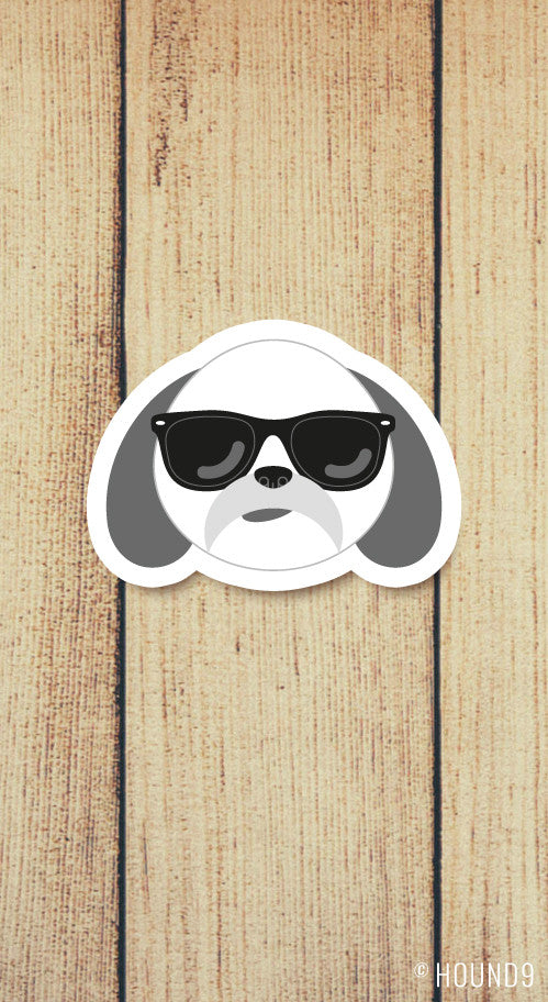 shih tzu dog wearing sunglasses strong weatherproof vinyl decal sticker