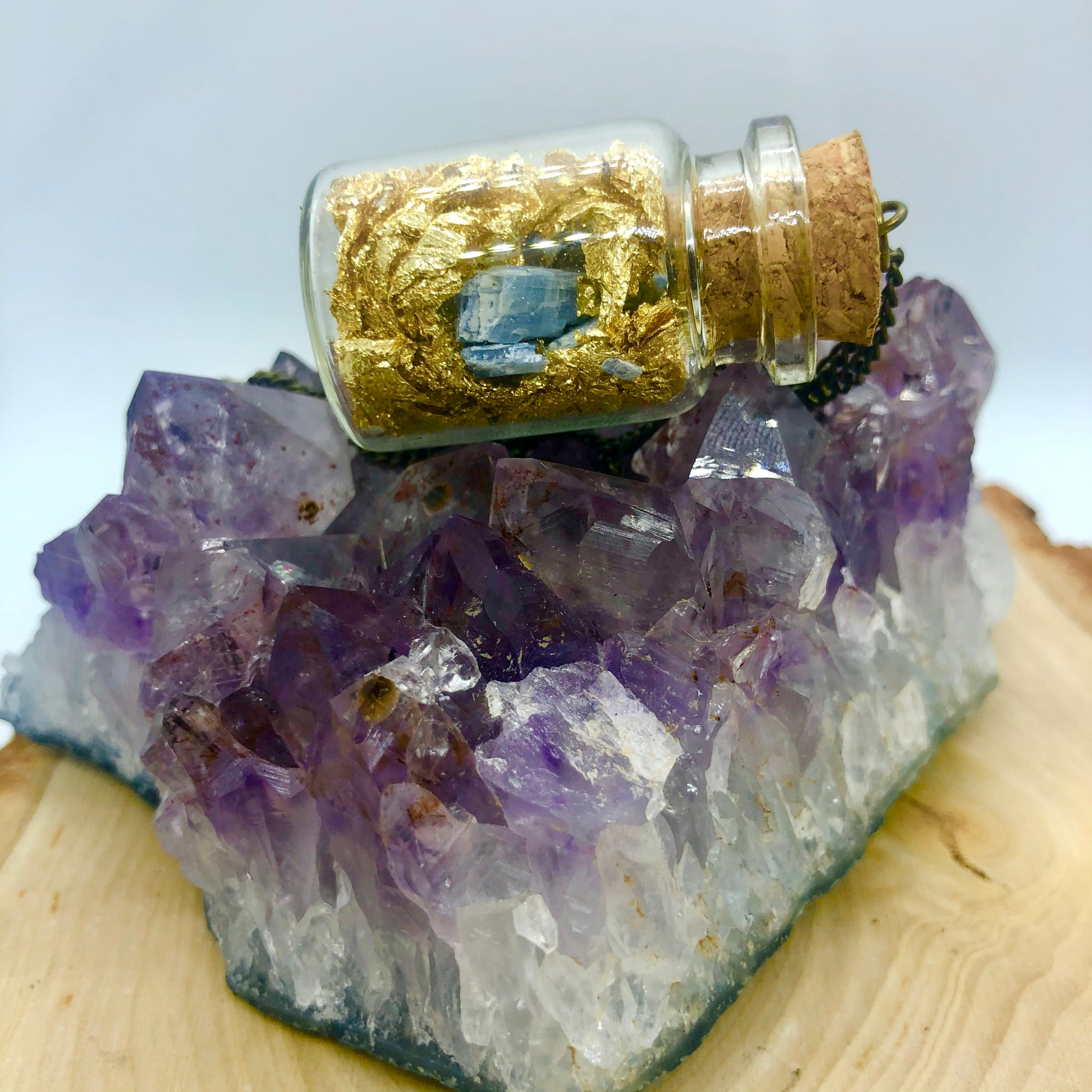 Raw Blue Kyanite with 14k gold leaf in tiny jar Necklace