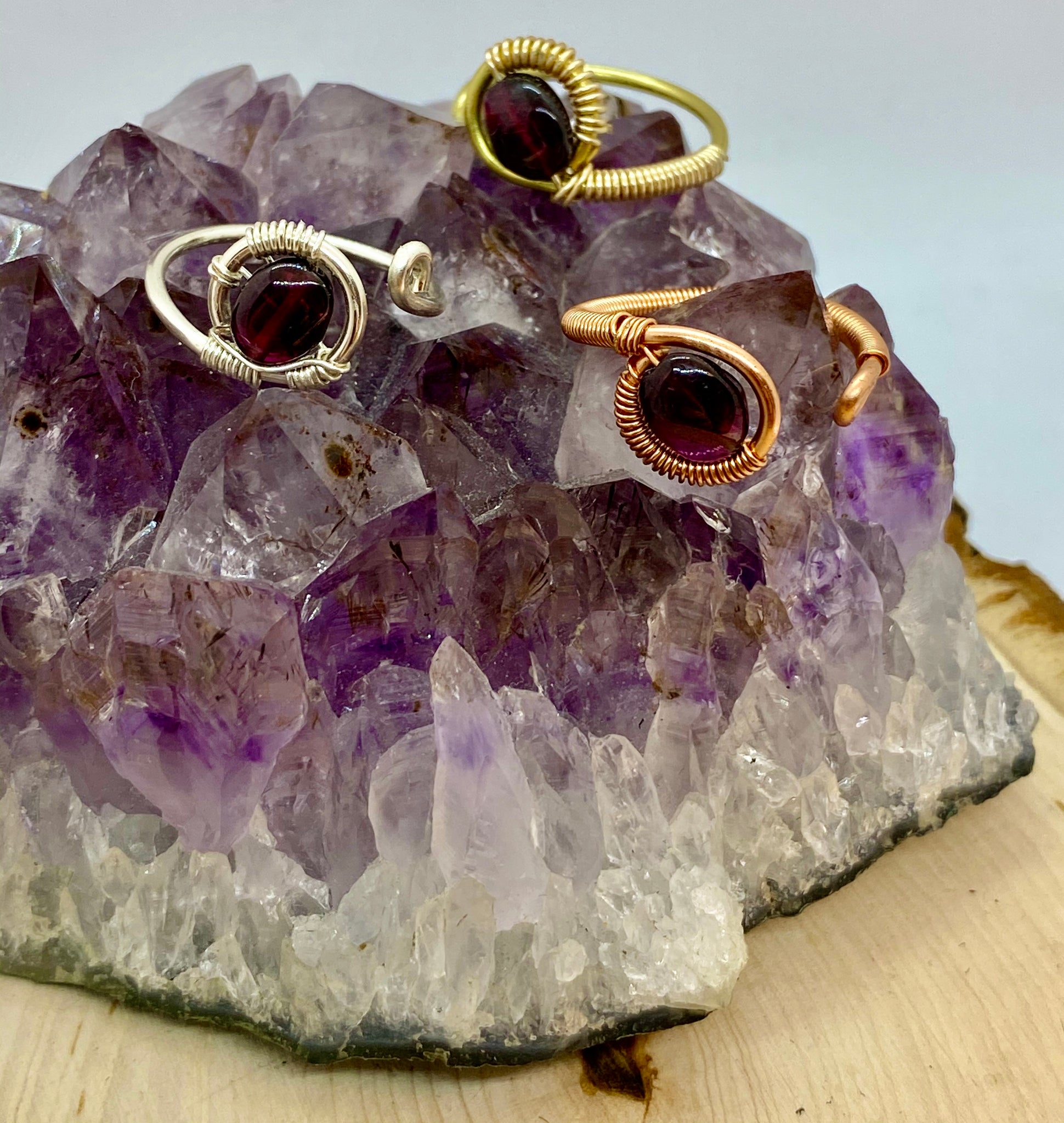 Garnet wrapped in Gold Adjustable Ring