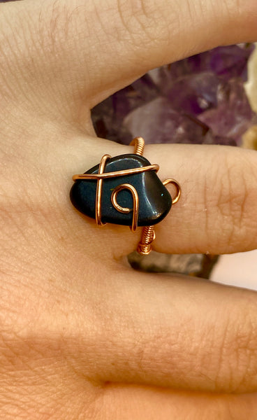 Black Obsidian wrapped in Copper Adjustable Ring