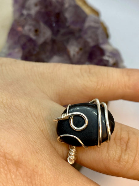 Black Obsidian wrapped in Silver Adjustable Ring