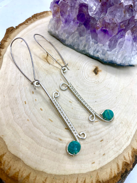 Amazonite wrapped in Silver Earrings