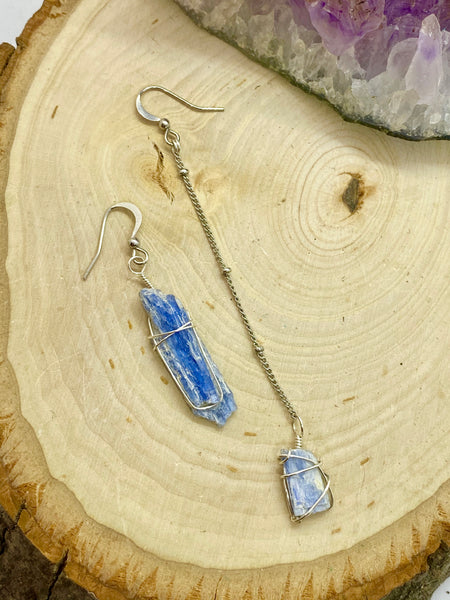 Blue Kyanite wrapped in Silver Asymmetrical Earrings