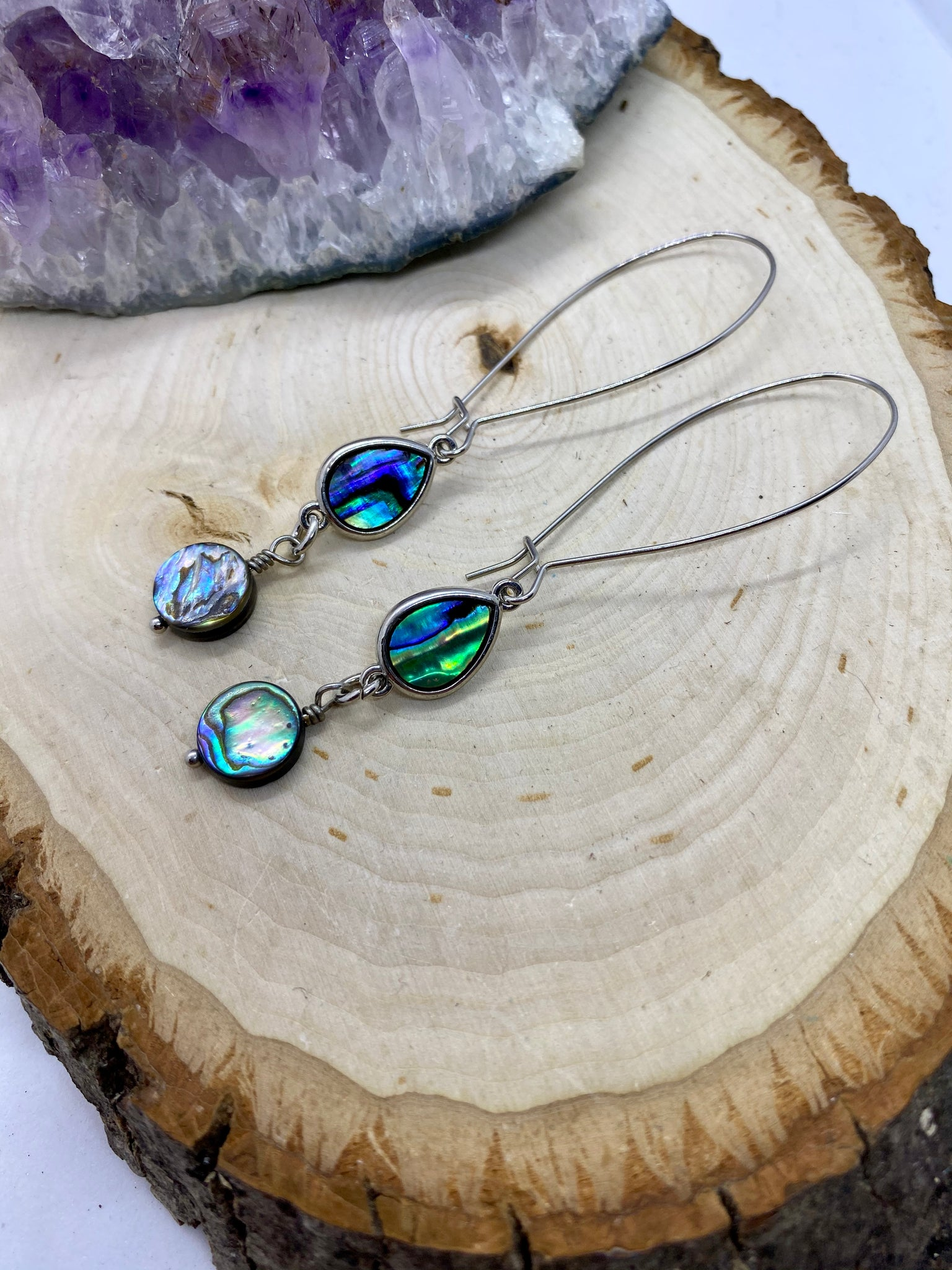 Abalone Shell wrapped in Silver Earrings