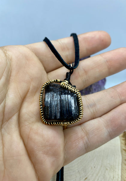 Black Tourmaline Wire wrapped in Gold Necklace