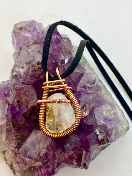 Citrine Wire wrapped in Copper Necklace