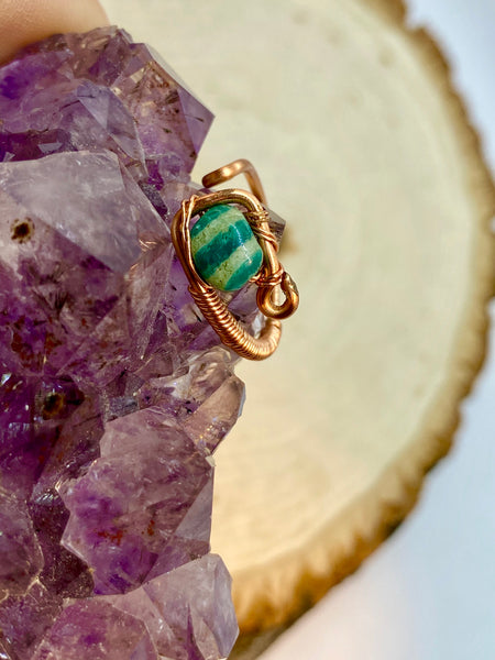 Amazonite wrapped in Copper Adjustable Ring