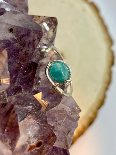 Amazonite wrapped in Silver Adjustable Ring