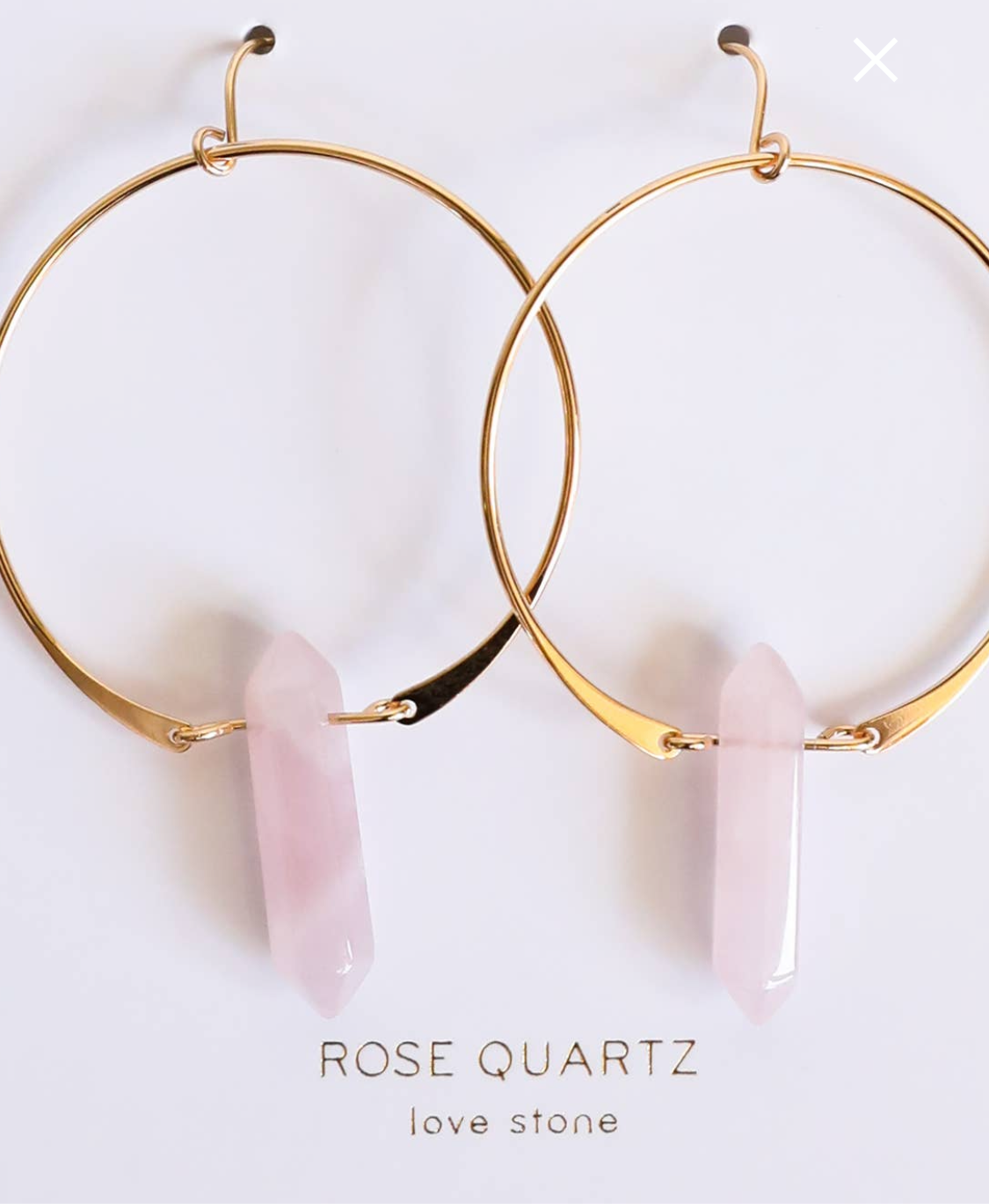 Rose Quartz in 14k gold hoops