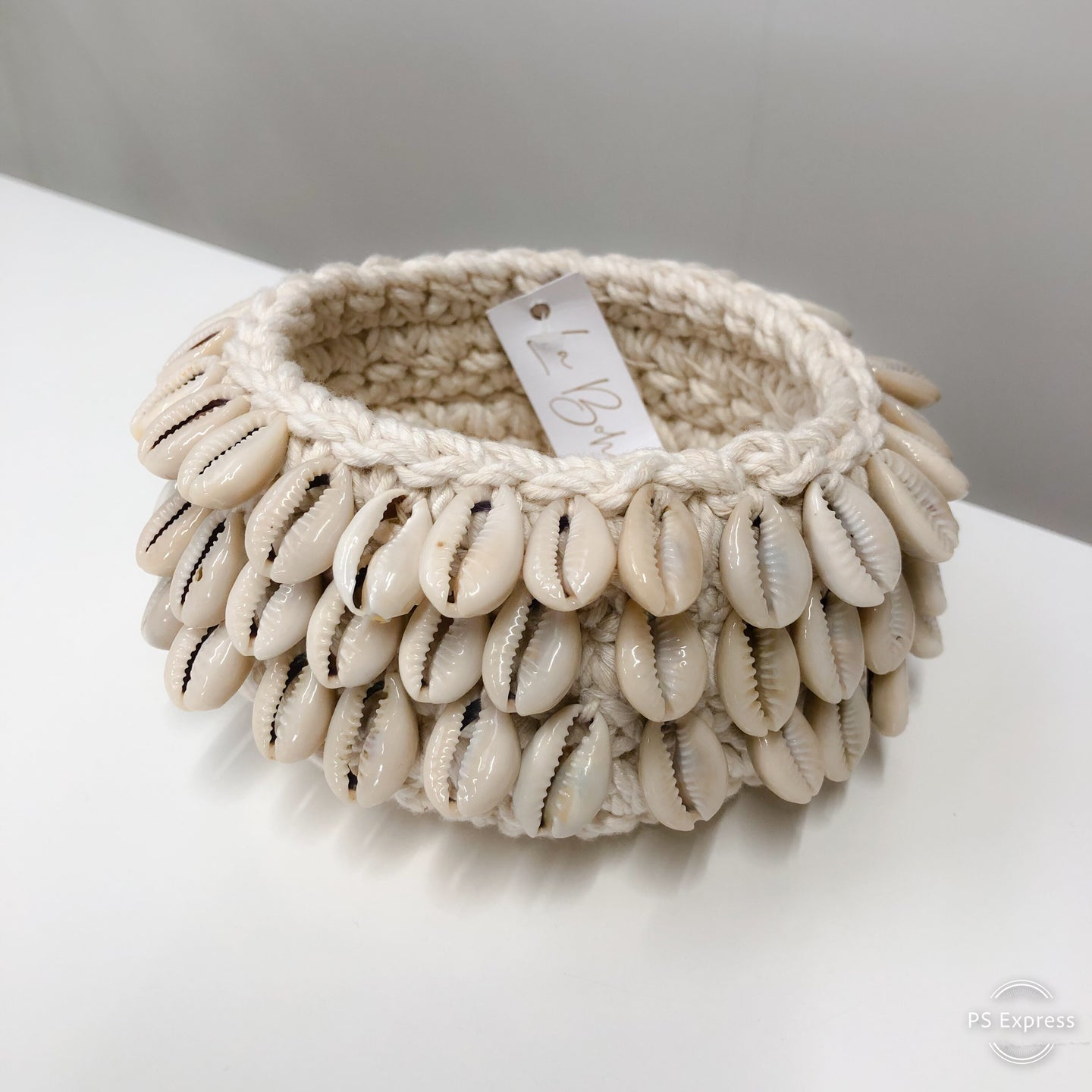 Macrame Candle Holder with 3 Rows of Cowrie Shells