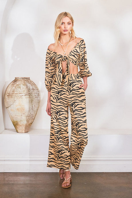 Lost In Lunar Tyra Wide Leg Pant - Zebra