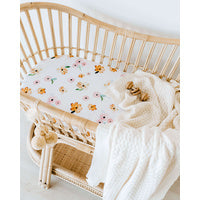 Snuggle Hunny Kids Fitted Cotton Bassinet Sheet - Poppy
