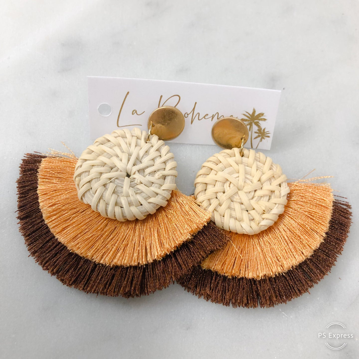 Rattan Earrings With Tan/Brown Fan Tassel