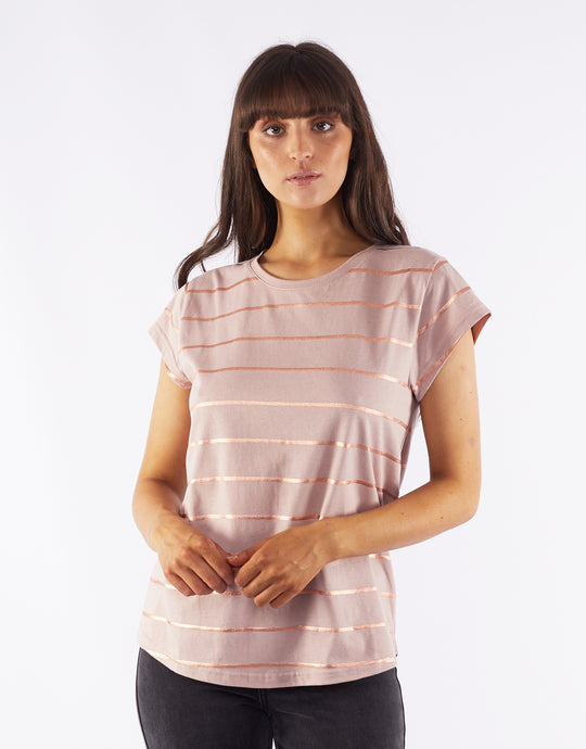 Willa Rose Stripe Tee Shirt - Dusky Pink