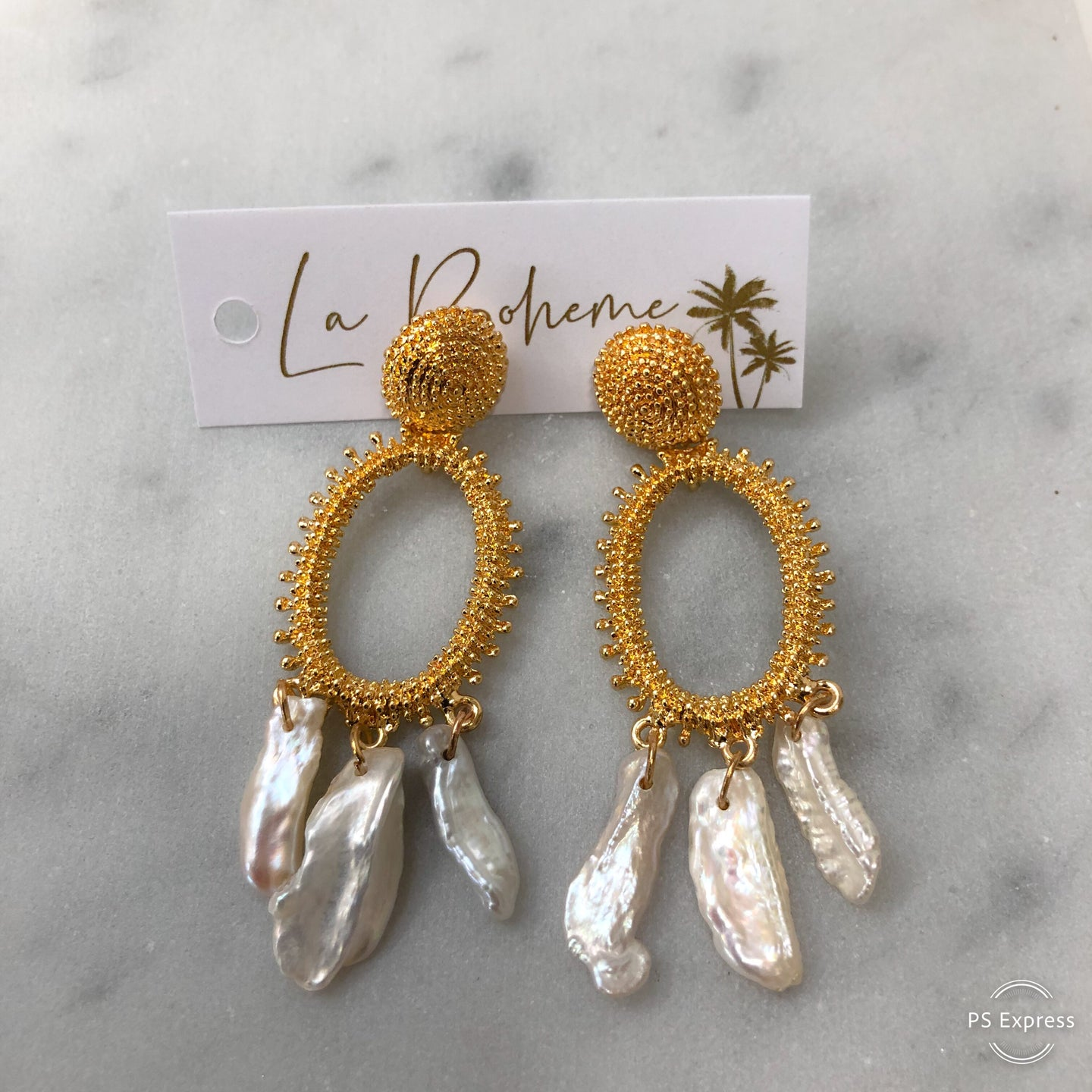 Adorne Anastasia Pearl & Gold Earrings