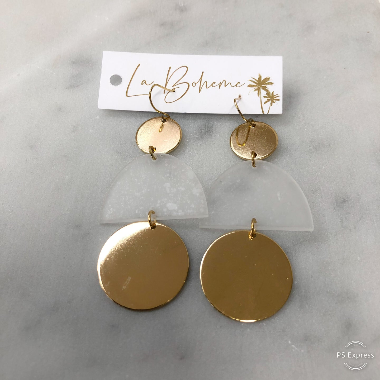 Gold Disc And Clear Dangle Earring