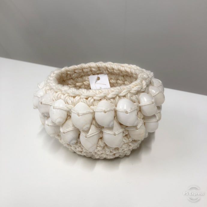 Macrame Candle Holders With Large White Shells 2 Rows