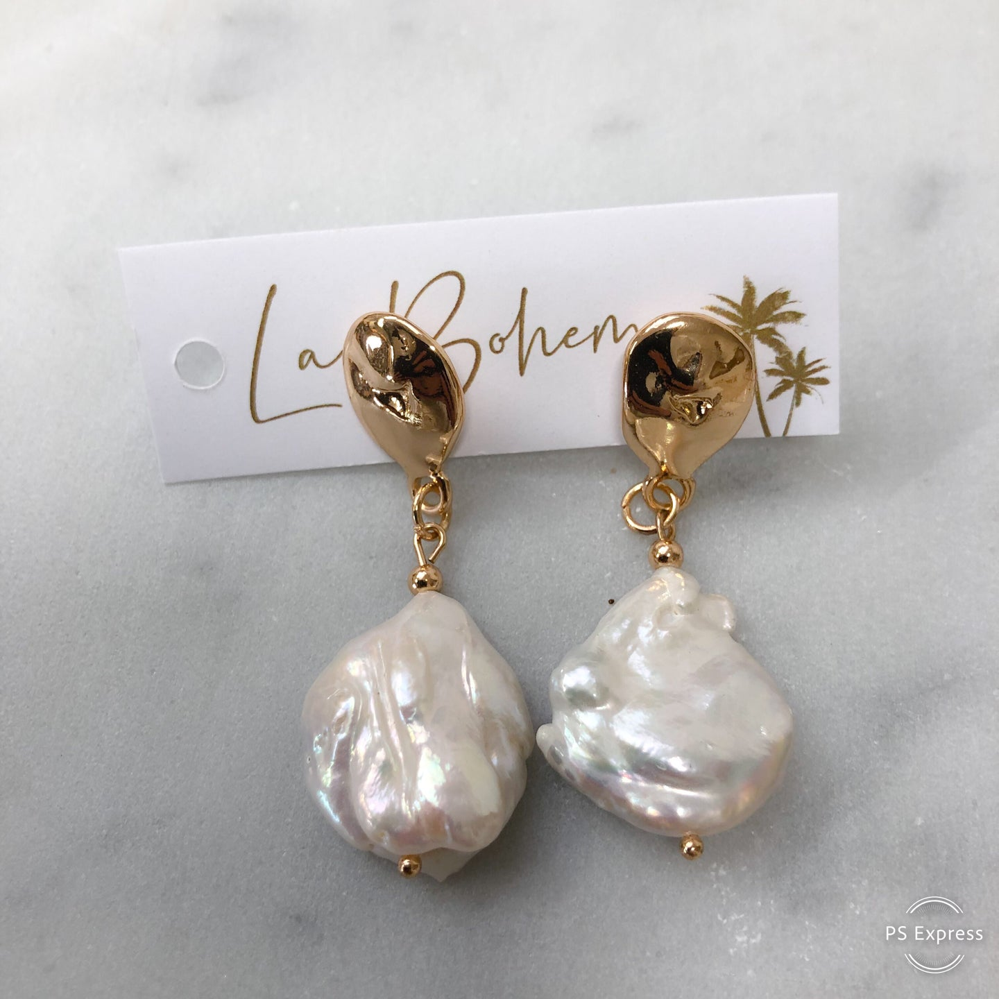 Adorne Button Pearl & Gold Drop Earrings