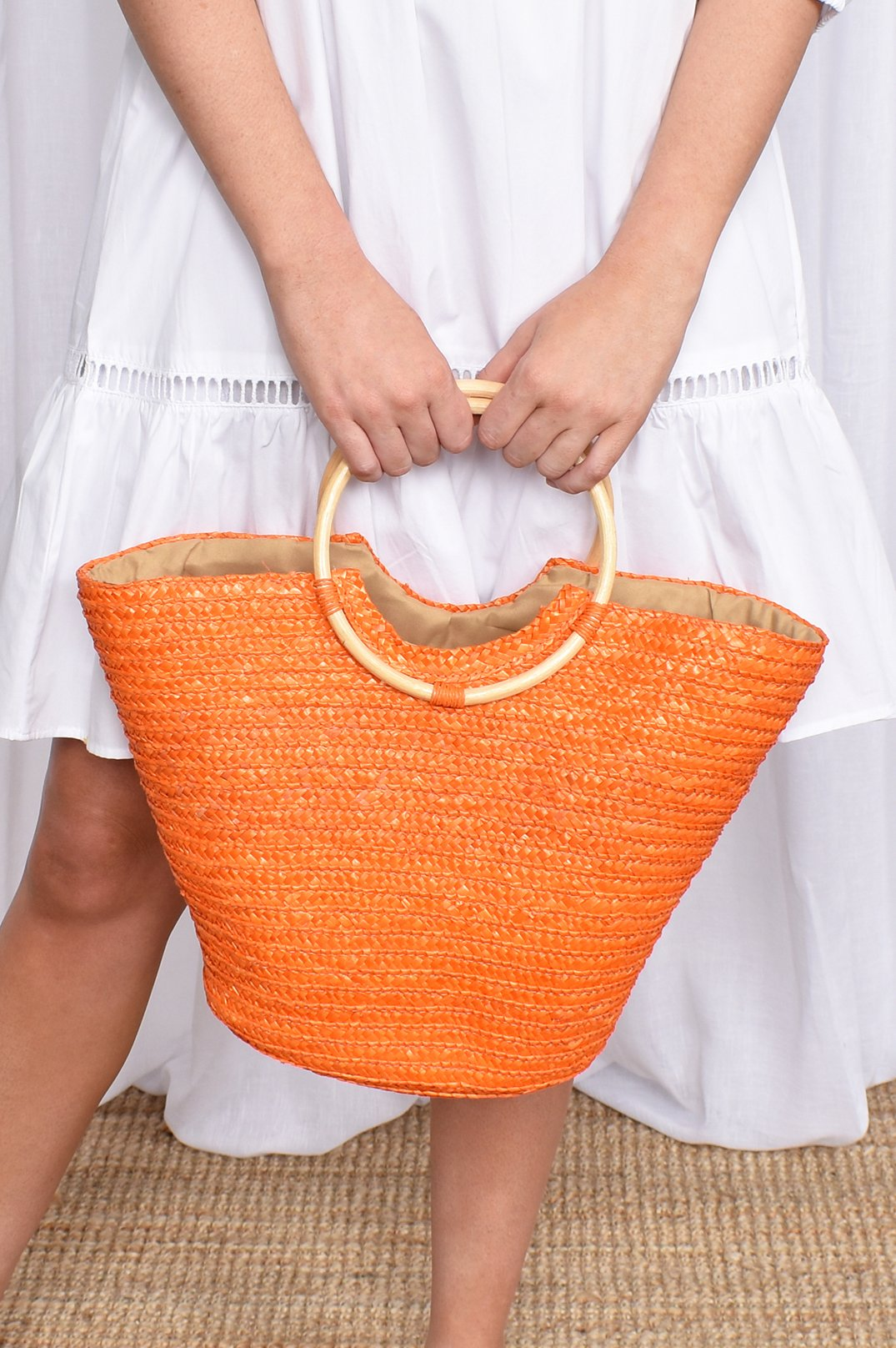 Adorne Orange Bag with Bamboo Handle