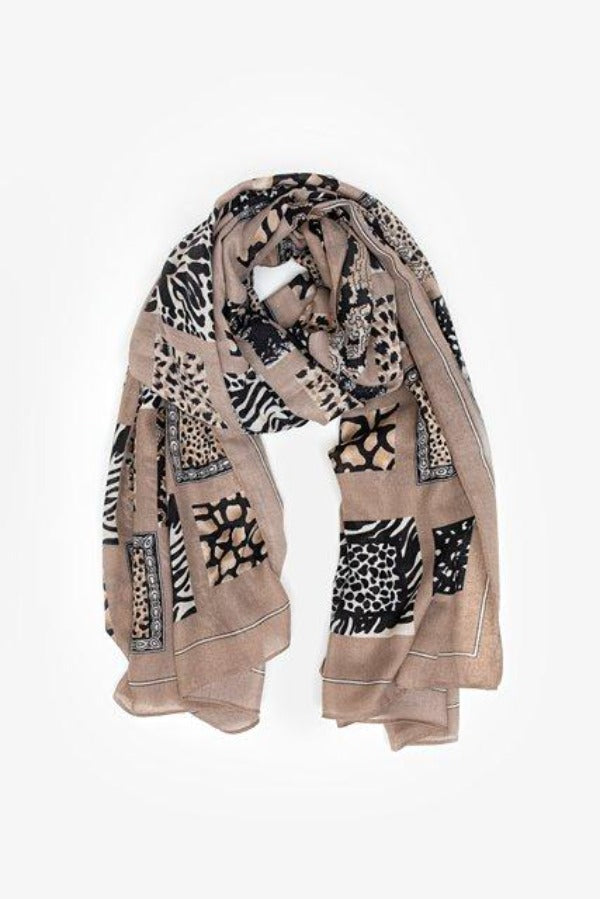 Antler Animal Print Block Scarf - Toffee
