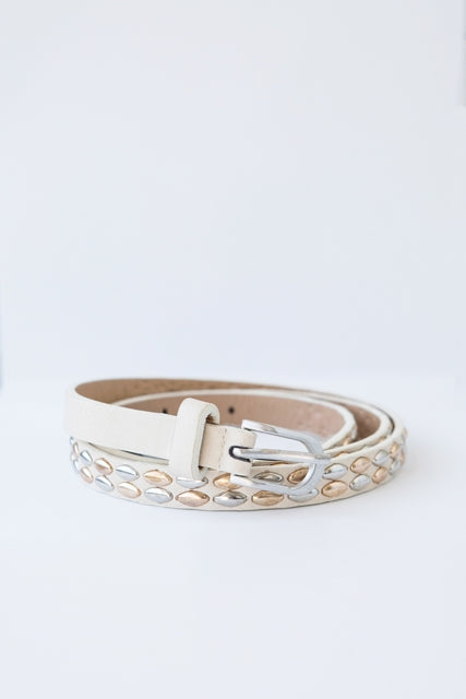 Antler Belt - Studded Belt - Cream