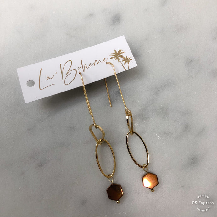 Embellish Gold Drop Earring With Small Bronze Hexagon