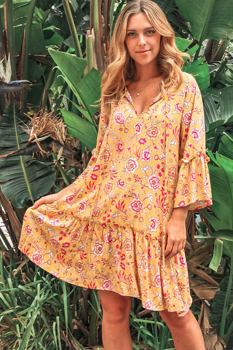 Isabella Boho Camille Mini Dress with 3/4 Sleeve - Yellow