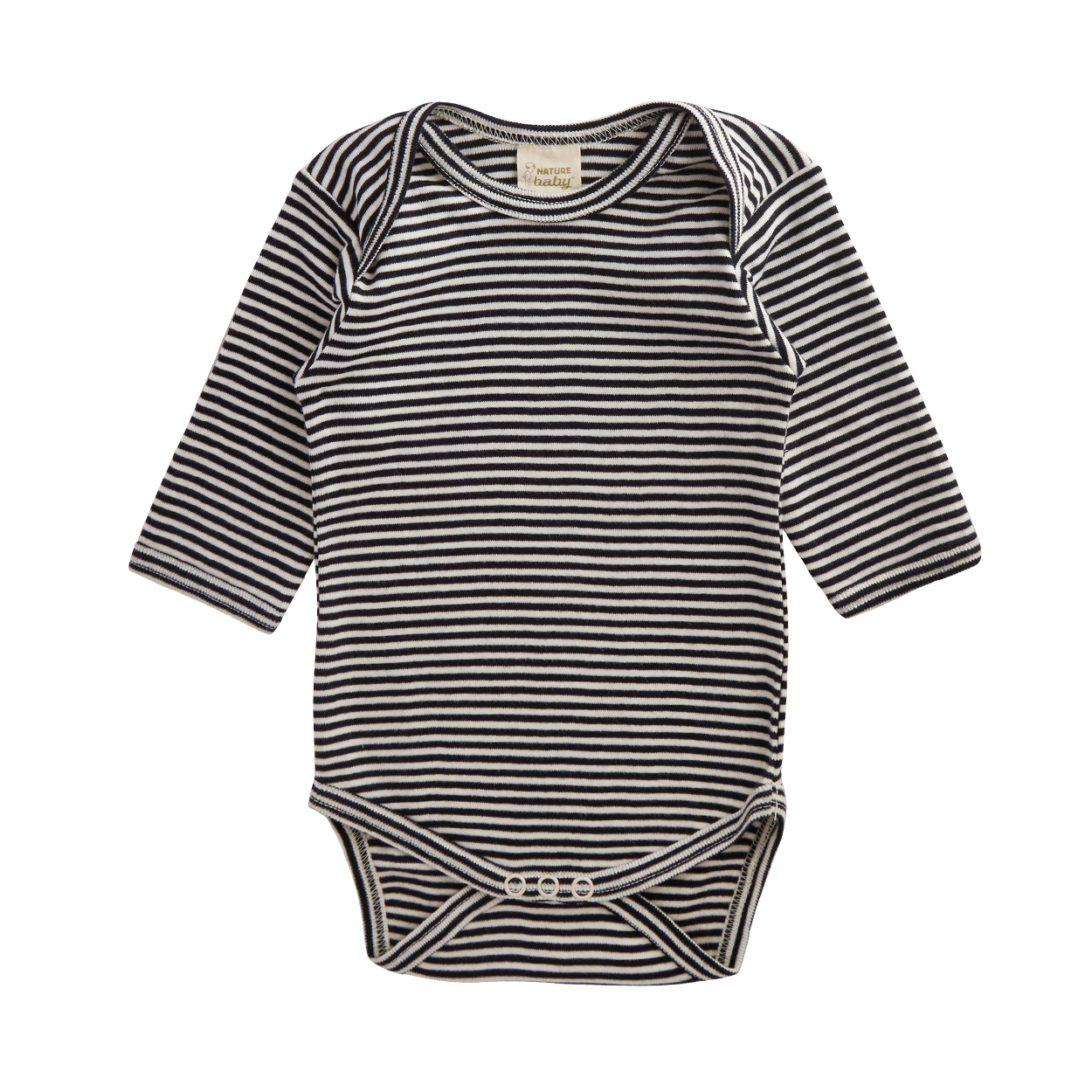 Nature Baby Cotton Long Sleeve Bodysuit NAVY STRIPE