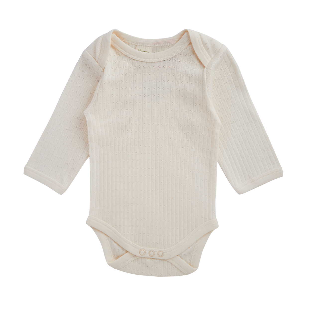 Nature Baby Pointelle Long Sleeve Bodysuit NATURAL