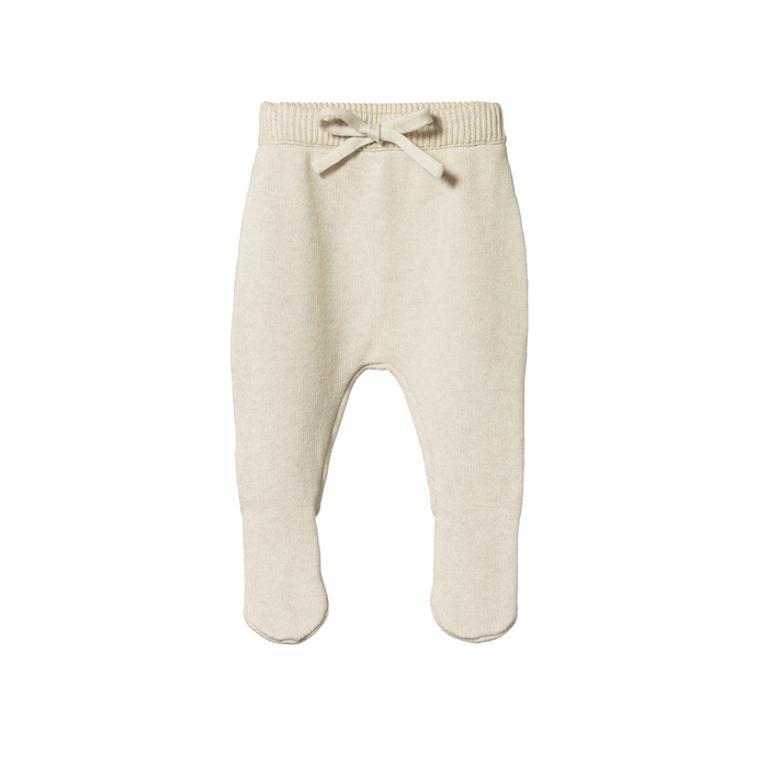 Nature Baby Footed Cotton Knit Pants - Oatmeal Marl