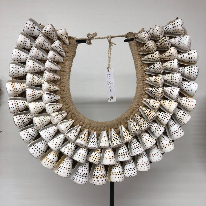 Collar - 3 Tier Shell Macrame (White & Brown Speckled)