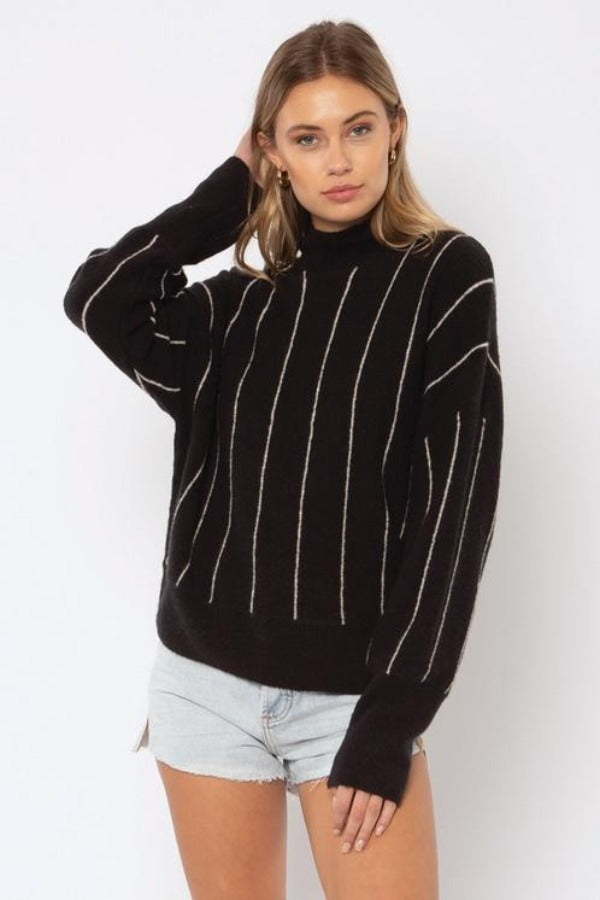 Amuse Aline L/S Knit Sweater - BLK Black