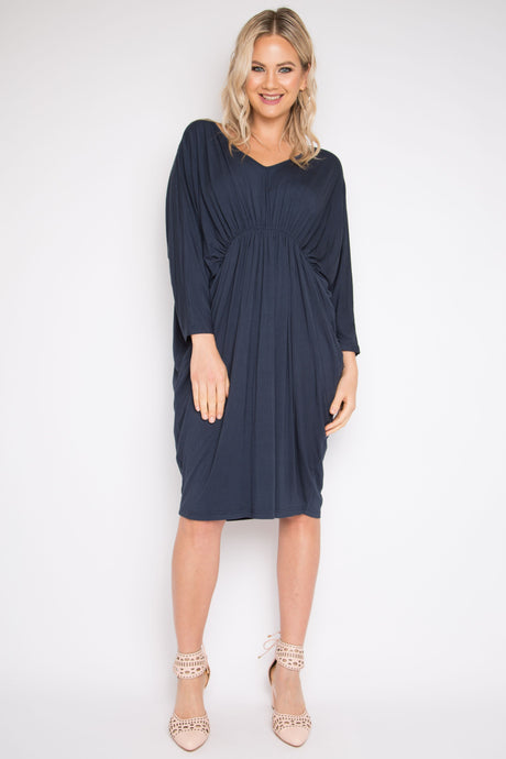 PQ Long Sleeve Gathered Miracle Dress MIDNIGHT