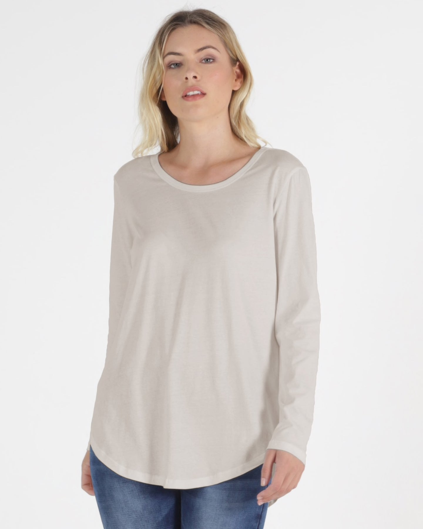 megan long sleeve tee cashew betty basics