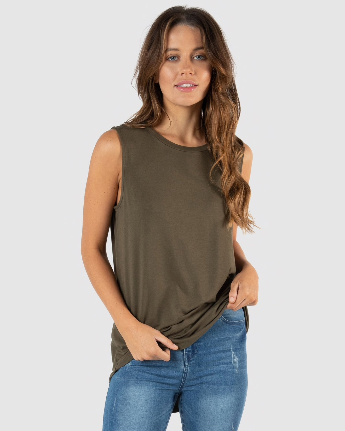 Betty Basics Capri Tank Khaki