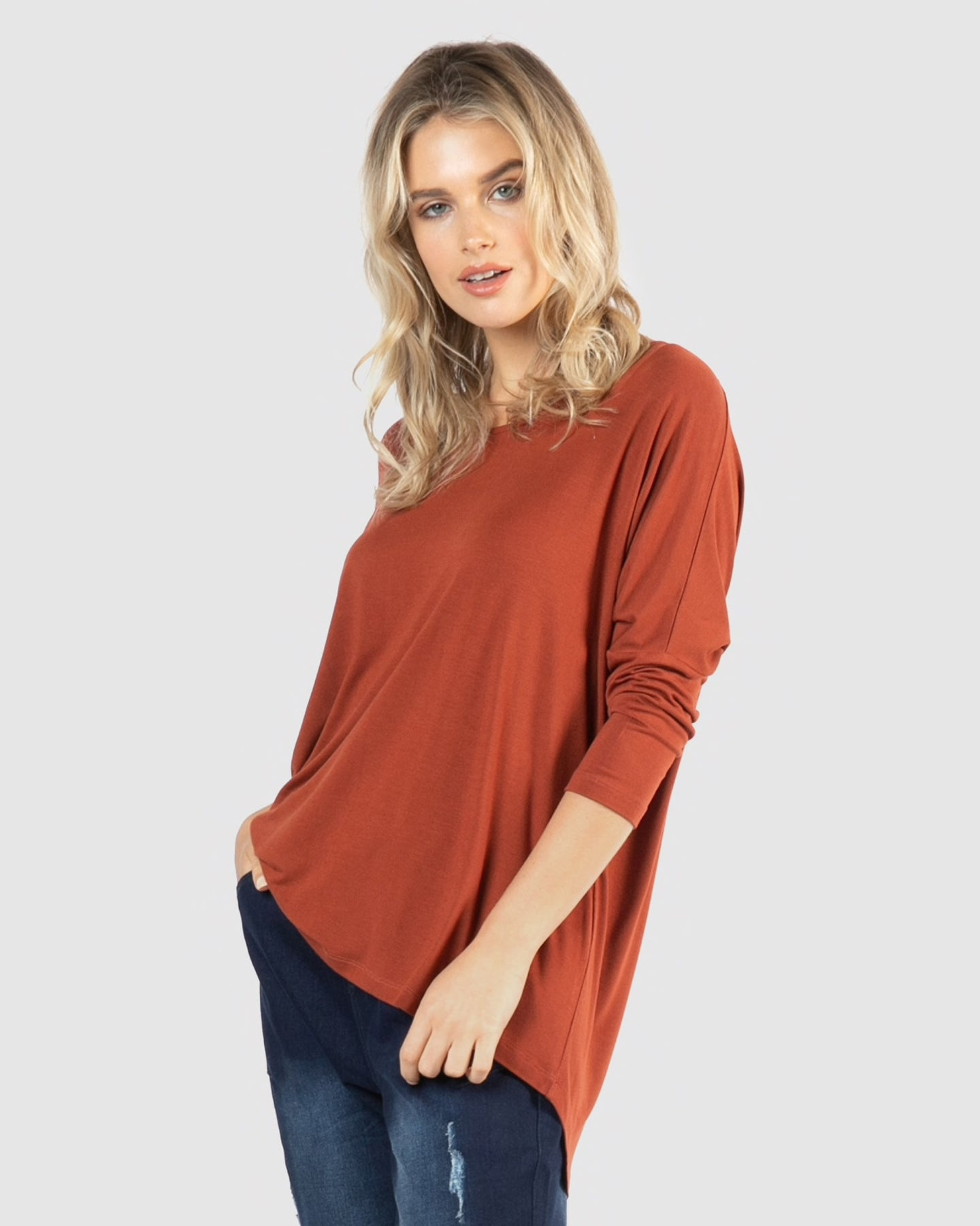 Betty Basics Milan 3/4 Sleeve Top - Terracotta