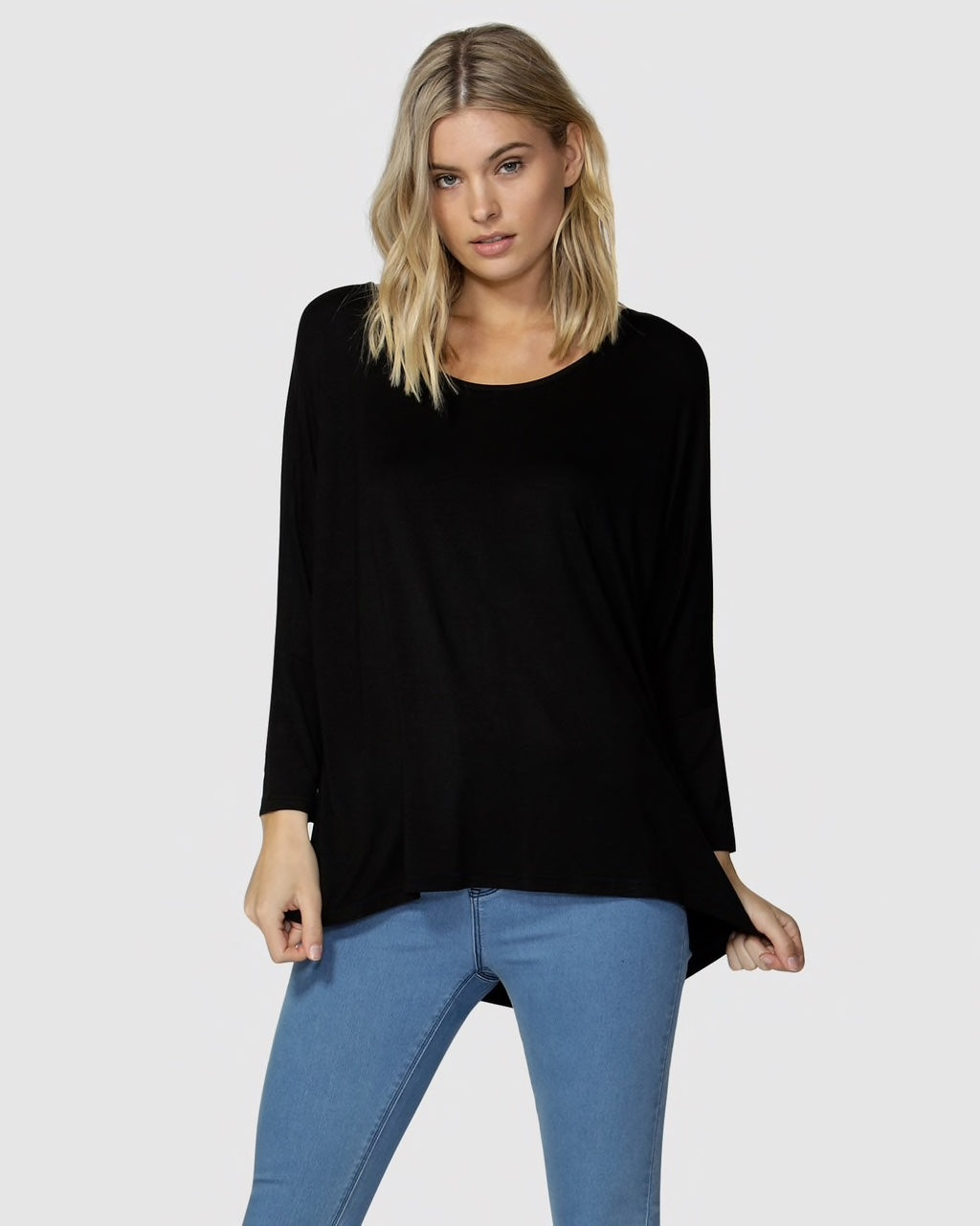 Betty Basics Milan 3/4 Top. Black. New Zealand. Casual wear. Cotton.